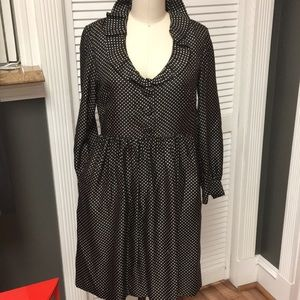 J Crew Silk Polka Dot Dress with Ruffle Collar